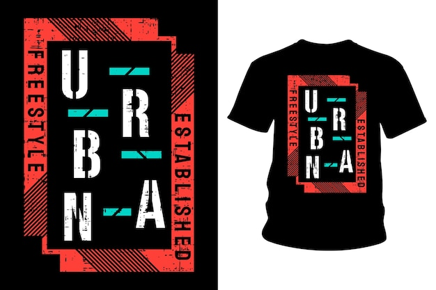 Diseño de tipografía de camiseta de texto urbano.