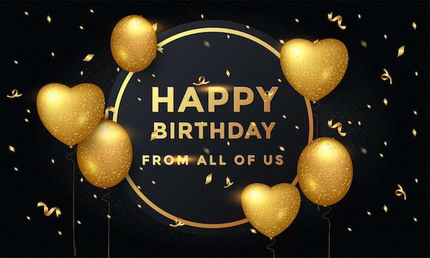 Diseño de tipografía de celebración de cumpleaños feliz con globos dorados