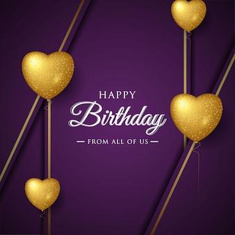 Diseño de tipografía de celebración de feliz cumpleaños para tarjeta de felicitación, póster o pancarta con globos de amor realistas