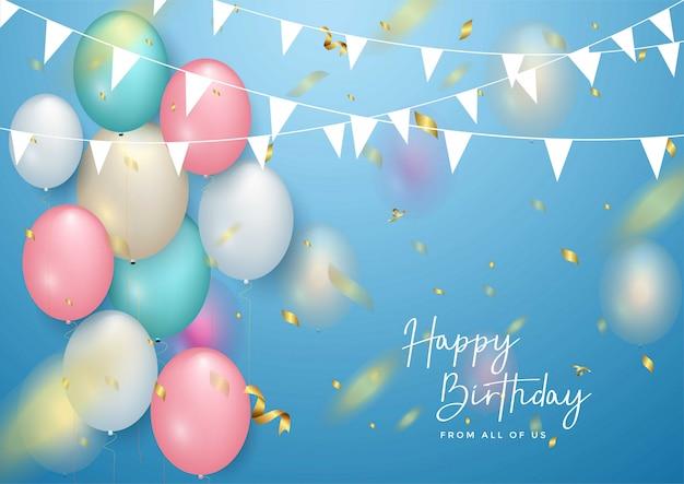 Diseño de tipografía de celebración de feliz cumpleaños para tarjeta de felicitación