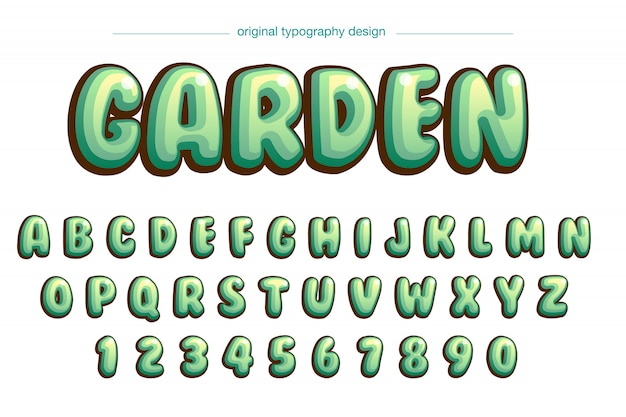 Diseño de tipografía cómica vibrante burbuja verde