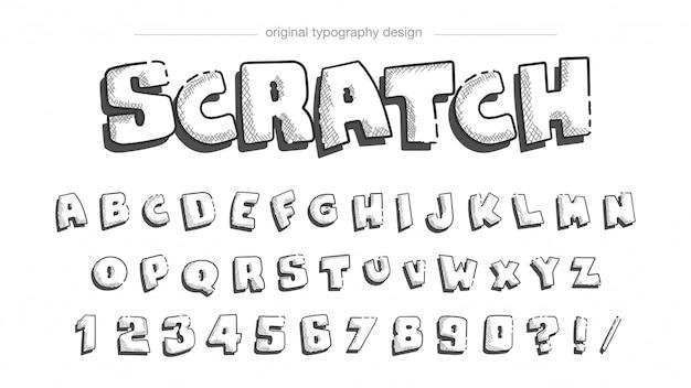 Diseño de tipografía de dibujo a lápiz.