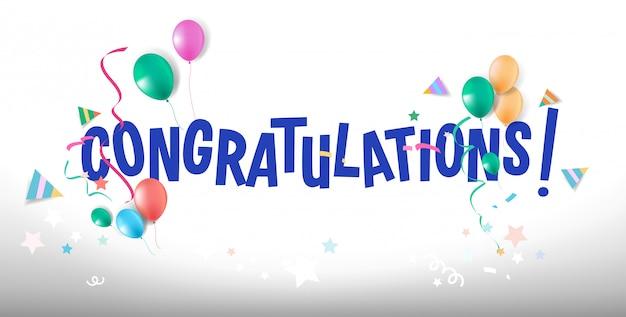 Diseño de tipografía de feliz cumpleaños para tarjetas de felicitación y pancartas con globos y confeti