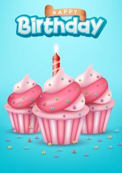 Diseño de tipografía de feliz cumpleaños para tarjetas de felicitación y póster con globo.