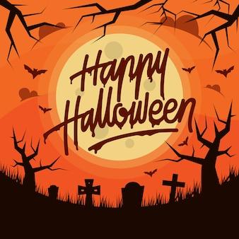 Diseño de tipografía happy halloween handlettering