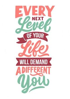 Diseño de tipografía de letras a mano, cita de motivación