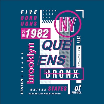 Diseño de tipografía de marco de texto de brooklyn