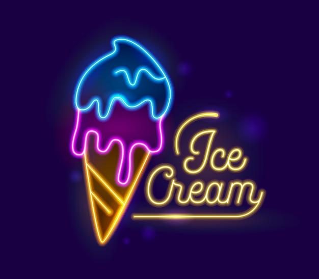 Diseño de tipografía retro de luz de neón de helado