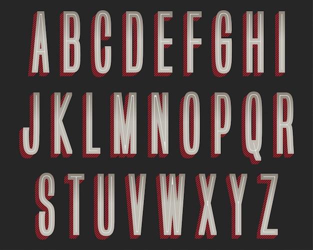 Diseño de tipografía retro rojo gris