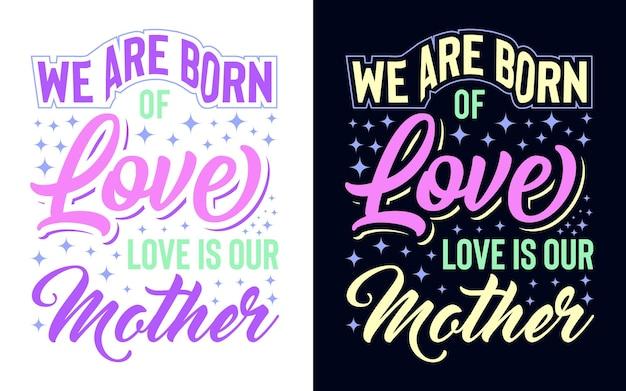 Diseño de tipografía sobre la impresión de la taza de la camiseta de la tarjeta de regalo de la etiqueta engomada de la madre