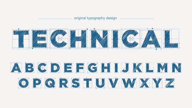 Diseño de tipografía técnica estilo dibujo.