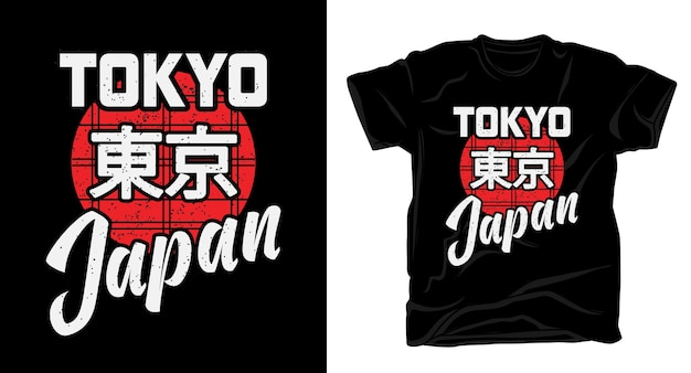 Diseño de tipografía de tokio japón para camiseta