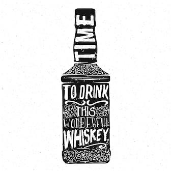 Diseño de tipografía de whisky, letras dentro de la botella de whisky, vector
