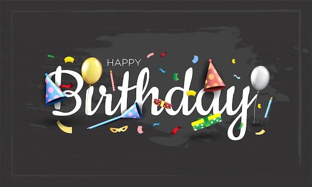 Diseño tipográfico feliz cumpleaños