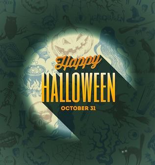Diseño tipográfico de halloween sobre un fondo dibujado a mano