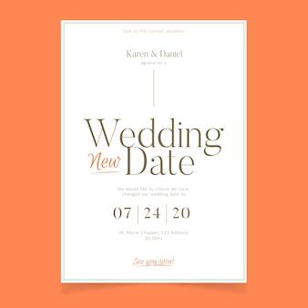 Diseño tipográfico de tarjeta de boda pospuesta