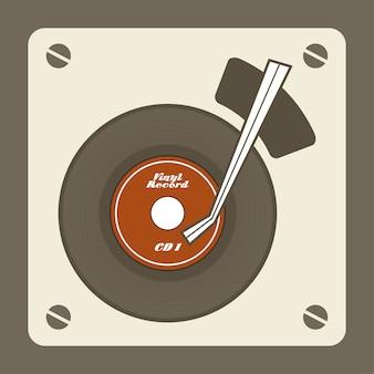 Diseño de tocadiscos sobre fondo vintage