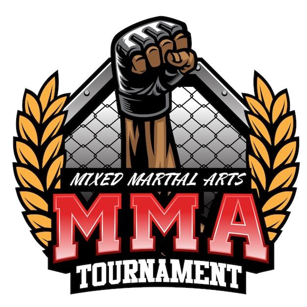 Diseño de torneo de lucha de mma aislado en blanco
