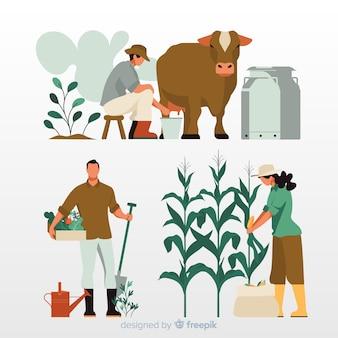 Diseño de trabajadores agrícolas para ilustración