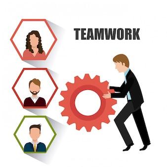 Diseño de trabajo en equipo empresarial.