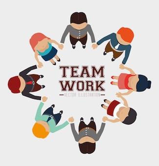 Diseño de trabajo en equipo, ilustración vectorial.