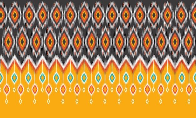 Diseño tradicional de patrón geométrico étnico oriental ikat para fondo, alfombra, papel tapiz, ropa, envoltura, batik, tela, estilo de bordado de ilustración vectorial.