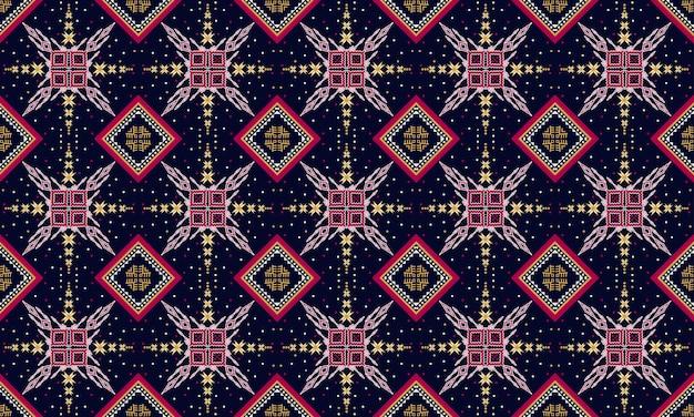 Diseño tradicional de patrones sin fisuras orientales étnicos geométricos para fondo, alfombra, papel tapiz, ropa, envoltura, batik, tela, estilo de bordado de ilustración vectorial. Vector Premium