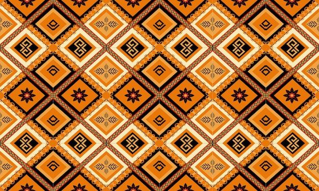 Diseño tradicional de patrones sin fisuras orientales étnicos geométricos para fondo, alfombra, papel tapiz, ropa, envoltura, batik, tela, estilo de bordado de ilustración vectorial.