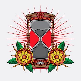 Diseño tradicional de reloj de arena con tatuaje