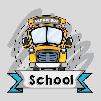 Diseño de tranporte de autobús escolar a la ilustración de vector de estudiante