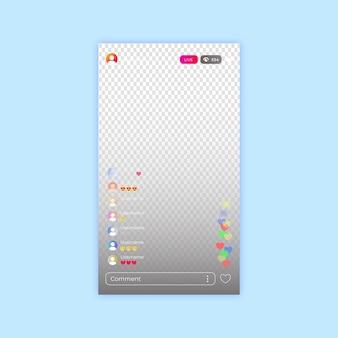 Diseño de transmisión de interfaz de instagram