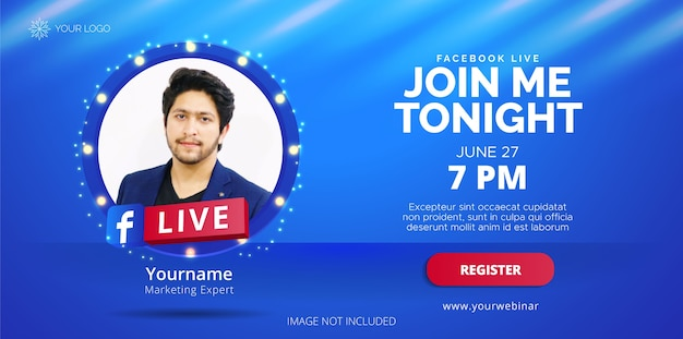 Diseño de transmisión en vivo de facebook para promoción empresarial.