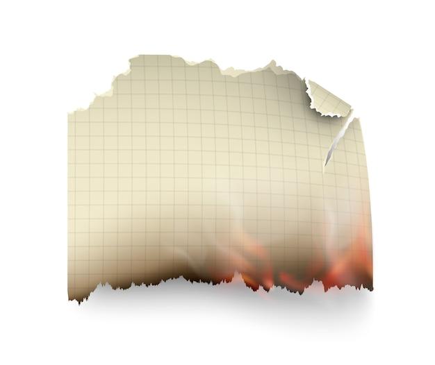 Diseño transparente quema de plantillas papel rasgado con fuego