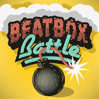 Diseño de tratamiento beatbox battle type. inscripción para titular,