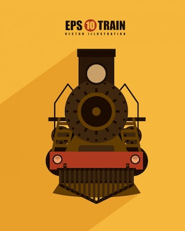 Diseño de trenes sobre fondo amarillo ilustración vectorial