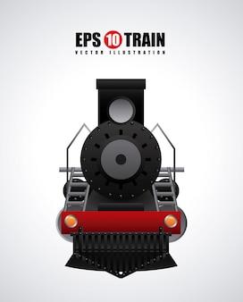 Diseño de trenes sobre fondo gris ilustración vectorial
