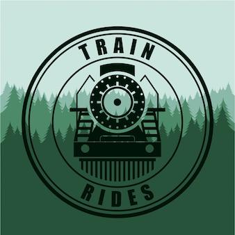 Diseño de trenes sobre fondo verde ilustración vectorial