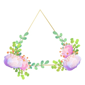 Diseño triangular de marco floral de boda