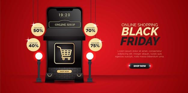 Diseño tridimensional con el tema de las compras online del black friday