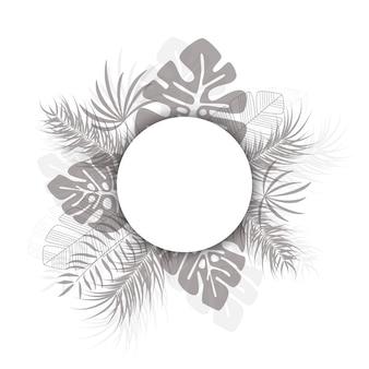 Diseño tropical con hojas de palma negra y plantas sobre fondo blanco con lugar para texto