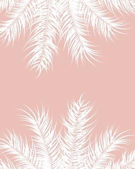 Diseño tropical con hojas de palmera blancas y plantas sobre fondo rosa