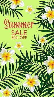 Diseño tropical de venta de verano para banner de plantilla