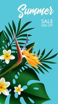 Diseño tropical de venta de verano para diseño de plantillas