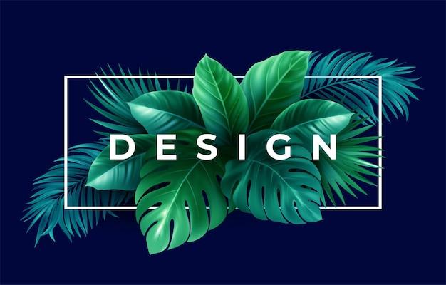 Diseño tropical de verano para banner.