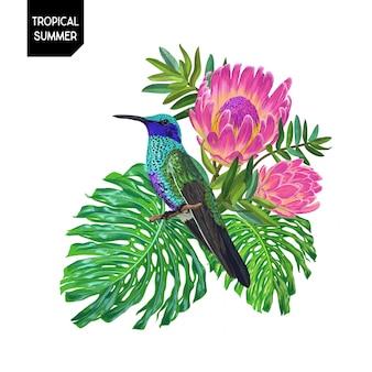 Diseño tropical de verano con colibrí y flores.