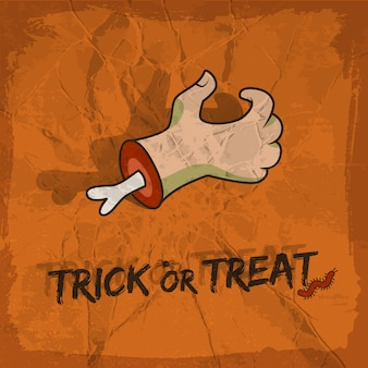 Diseño de truco o trato en estilo de dibujos animados con araña de mano y gusano sobre fondo de terracota