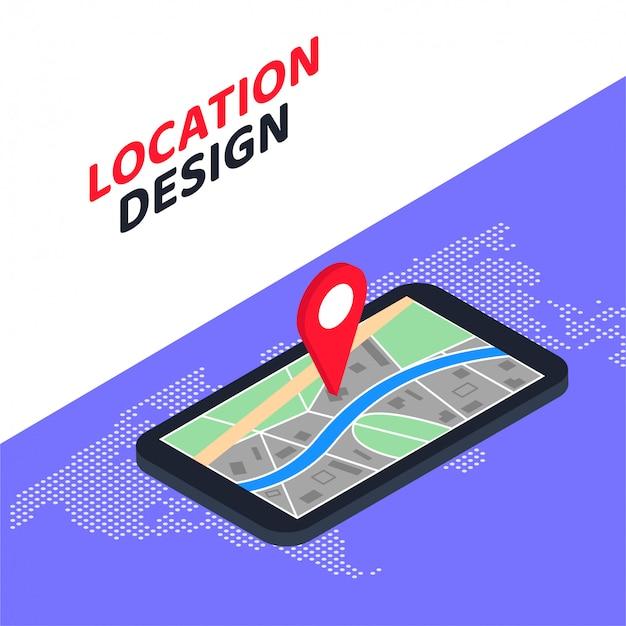 Diseño de ubicación de concepto de navegación gps isométrica móvil 3d