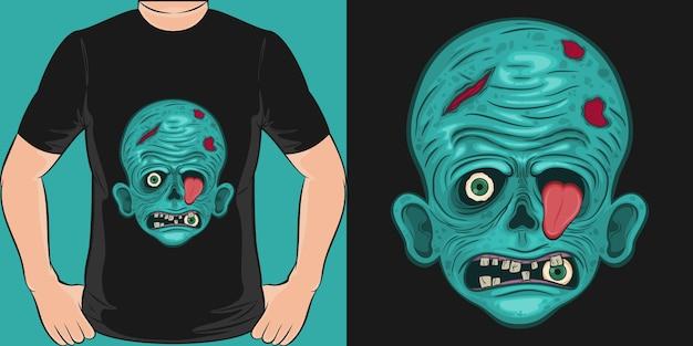 Diseño único y moderno de la camiseta del zombi espeluznante