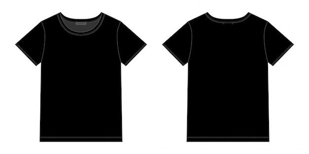 Diseño unisex de camiseta negra. vector frontal y posterior. bosquejo técnico