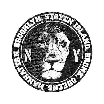 Diseño urbano vintage con cabeza de león. ilustración vectorial